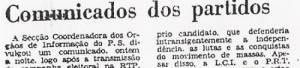 Comunicados dos partidos DN 1976