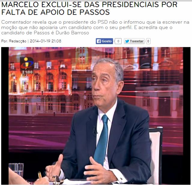 Marcelo excluiu-se das presidecnciais
