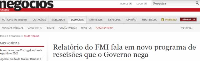 Negócios FMI diz e Governo nega
