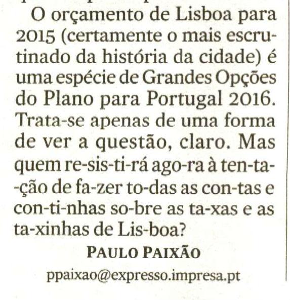 Expresso orçamento de Lisboa