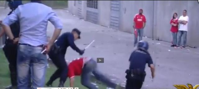 CM Benfica polícia bate no pai do menino