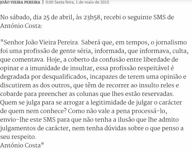 Expresso SMS de Costa a João vieira pereira