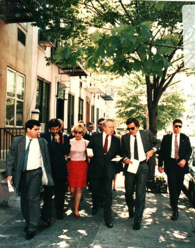 Nova York, Mário Soares com jornalistas Miguel Sousa tavares, Henrique Monteiro e Luís Pinheiro de Almeida